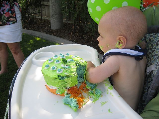 First Birthday double layer smash cake: food coloring in the cake batter :)