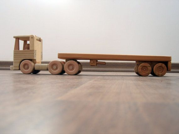 Flavia, the flat bed wood truck - a waldorf wooden toy truck, flat nose truck and a peg man