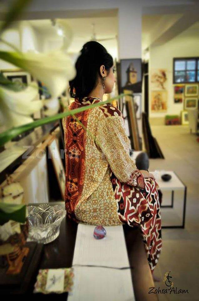 Cream Printed Silk Tunic | VIVA-LUXE
