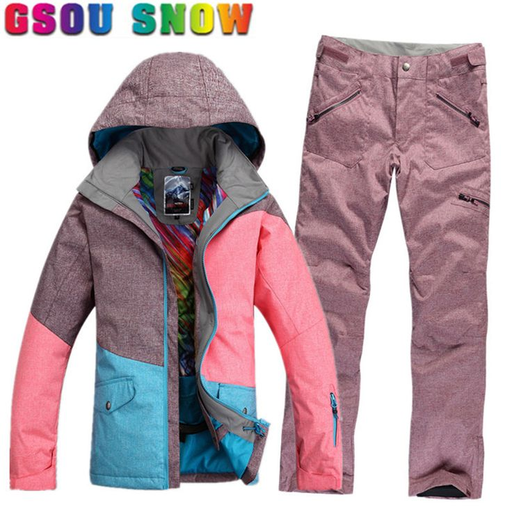 GSOU SNOW Brand Ski Suit Women Waterproof Ski Jacket Pants Winter Skiing Suit Ladies Outdoor Women's Snowboard Jacket Pants Sets