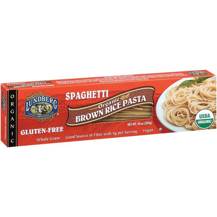 Lundberg Family Farms Organic Brown Rice Spaghetti Pasta. Ingredients: organic brown rice flour