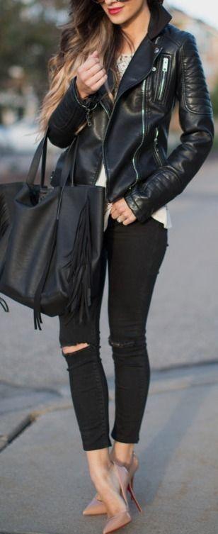 Leather Jacket & Skinny Jeans.   Mia Mia Mine #leather