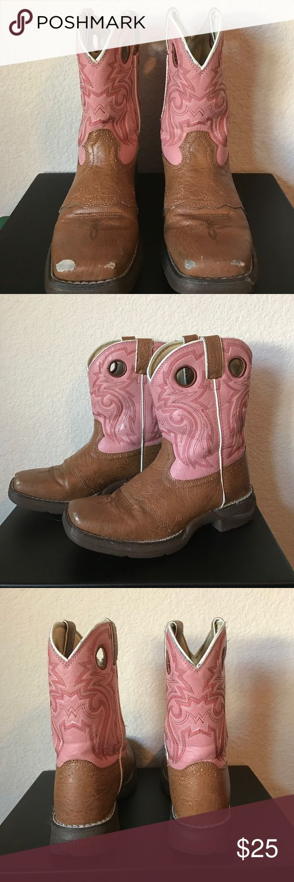 """Kids western boots Kid's 8"""" western boots. Tan & pink. Scuffs on the toes of both boots (please see photos)), but still in great condition. Size 3M. Durango Shoes Boots"""