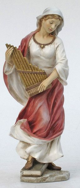 Saint Cecilia Statue in Hand painted full color. High quality gift. Saint Cecilia is the Patron Saint Of Music and the Blind. Memorial Day is November 22 Veron