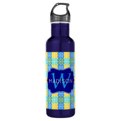 Trendy Resort Fashion Mediterranean Tiles Monogram Water Bottle - spring gifts style season unique special cyo
