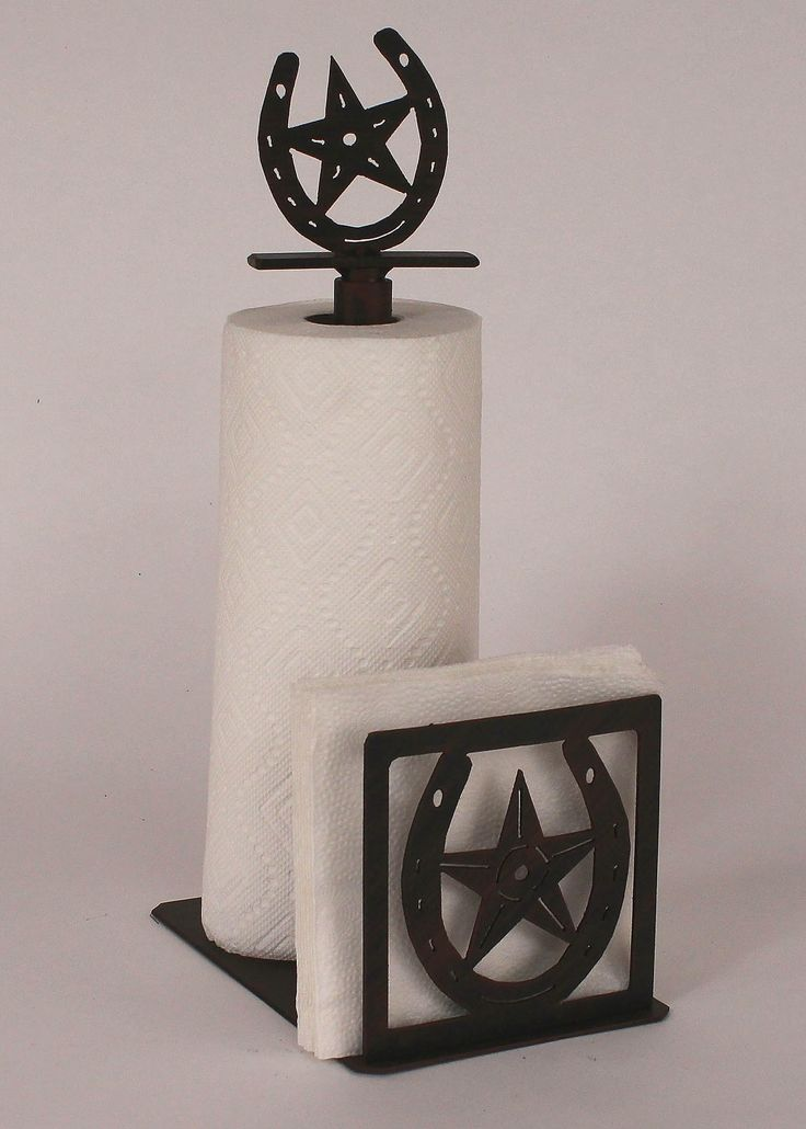 Horseshoe Paper Towel and Napkin Holder with Horseshoe and Star Topper