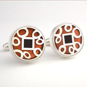 Sterling silver large round Victoria Varga Cuff links with copper & black resin inlay. $185.00 www.victoriavarga.com