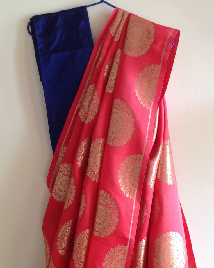 Peach semi silk brocade saree with hot pink raw silk blouse by GiaExquisiteIndian on Etsy