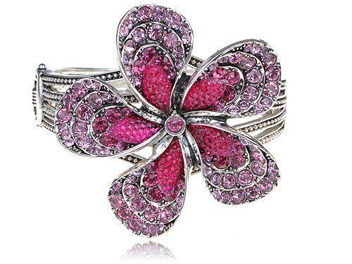 Fuchsia Rose Crystal Rhinestone Big Spring Floral Flower Bracelet Bangle Cuff Alilang. $15.99