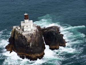 The Tillamook Rock Light was built in 1881 on a rock off Oregon coast called Tillamook Head. It was born in blood; with its grand opening overshadowed by a nearby shipwreck just days before its guardian gas-light was lit. 16 people died when the barque Lupatia wrecked on the rocks in a storm, proving the necessity of a lighthouse there.