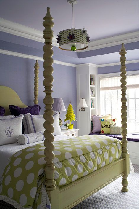 Monogrammed pillows and polka dots the lamp and green bed