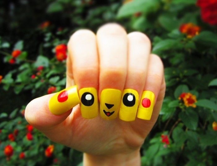 How To: Pikachu Nail Art  •  Free tutorial with pictures on how to paint a character nail in under 60 minutes