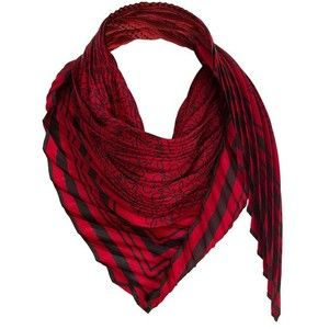 LOEWE 90X90 Pleated Scarf Red/Black