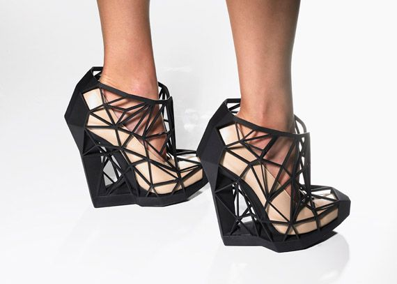 Beautiful shoes; the intricate geometric shapes can only be made possible  with 3D printing technology