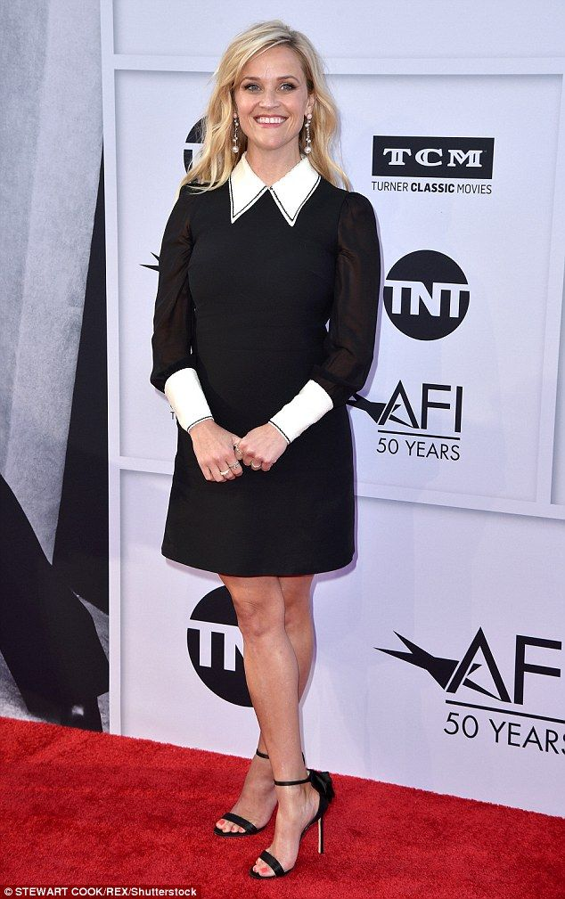 Classic look: Reese Witherspoon showed up to honor Diane Keaton at AFI's 45th Lifetime Achievement gala on Thursday in Los Angeles