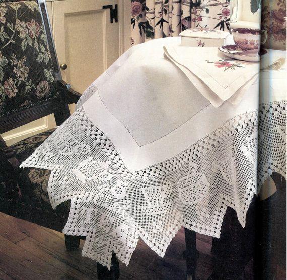 Tea+Time+Filet+Crochet+Tablecloth+by+PearlShoreCat+on+Etsy,+$2.50