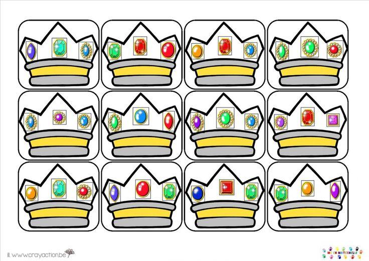 Le jeu des couronnes Il faut recomposer les diamants sur la couronne à la bonne place en fonction de l'image modèle.  Feuille à plastifier en fonction du nombre d'élèves de l'atelier :    Cartes modèles niveau facile :    Cartes modèles niveau moyen :    Cartes modèles niveau difficile :    Décorations des couronnes à découper et plastifier.    Jeu Reconnaissance couronne2      Illustrations DVD Marianne 2014 – www.crayaction.be