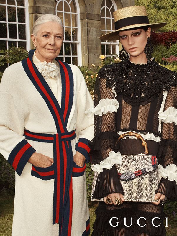 From the Gucci Cruise 2017 campaign, Vanessa Redgrave in a Web stripe trim coat, and a frill trimmed dress with the Gucci Lilith bag featuring a bamboo handle.