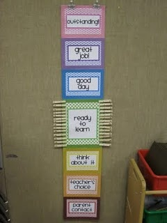 Behavior Chart.... this looks like my behavior chart...  Great idea to add the meaning of each color. This makes it clear for parents and students.
