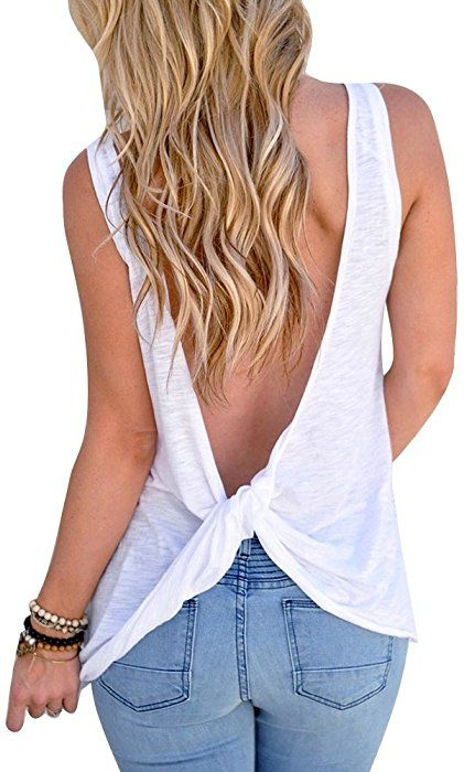 Women Sexy Sleeveless Open Back Shirt Knotted Tank Top Blouse Sport Vest Tops Tshirt (XL, White): Amazon.ca: Clothing & Accessories