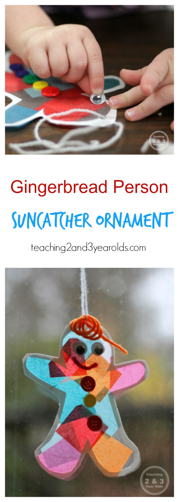 Gingerbread Suncatcher Ornament craft for preschool winter theme by Teaching 2 and 3 Year Olds