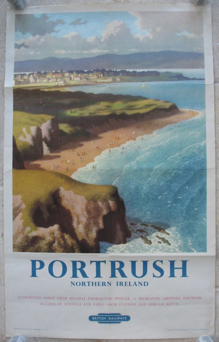 Portrush - Northern Ireland, by Ronald Lampitt. Portrush on the north coast of Northern Ireland is home to one of the world's top Championship Golf courses. This poster encompasses an aerial view of the golf links above a busy sandy beach, with the town in the distance. Original Vintage Railway Poster available on originalrailwayposters.co.uk