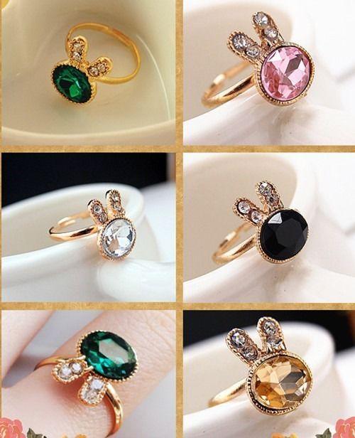 Fashion Women Delicate Emerald Gem Rhinestone Rabbit Ring Jewelry Finger Gift