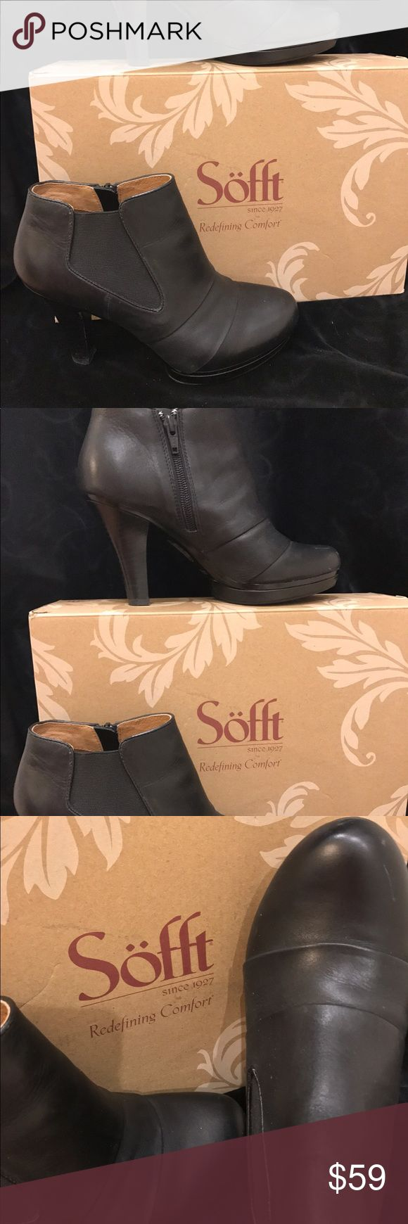 """Sofft Black Ankle Booties Worn 2 times!!! Sofft Black Ankle Boots European design meets modern comfort in a contemporary platform bootie styled with geometric side goring and a striking pleated vamp. Size 7.5, 2 3/4"""" boot shaft, 4"""" heel, Side zip closure, Leather upper and lining/synthetic sole. Worn only a few times. Excellent condition. Sofft Shoes Ankle Boots & Booties"""