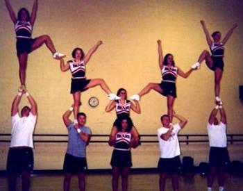 Easy but Cool Cheerleading Stunts | Cheerleading Featured Stunt - Ohio Northern Cheerleaders - Quad ...
