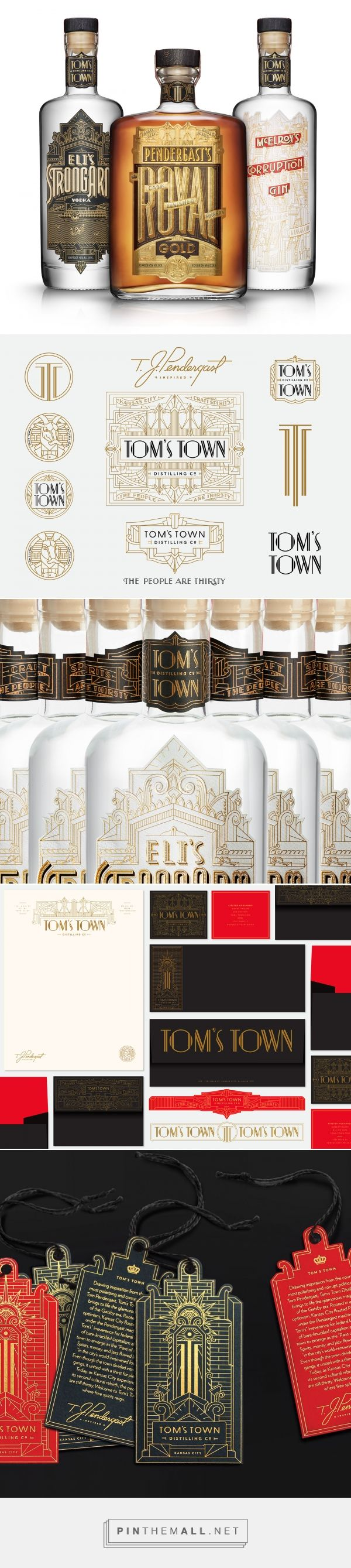 Tom's Town Distilling packaging design by Kevin Cantrell Design - http://www.packagingoftheworld.com/2017/12/toms-town-distilling.html