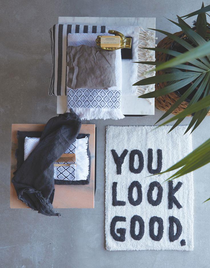 A.U Maison SS17. #aumaison #interior #homedecor #styling #danishdesign #bathroom #bathmat #quote #towel