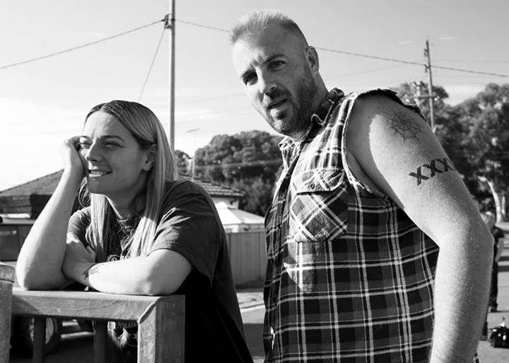 Shazza and Dazza on set Housos Vs Authority