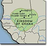 ghana empire map | This is a map of the ancient kingdom of Ghana, displaying its location ...