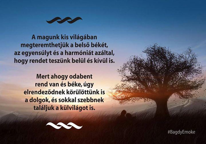 Bagdy Emőke gondolata a belső békéről és rendről. A kép forrása: Prof. Dr. Bagdy Emőke