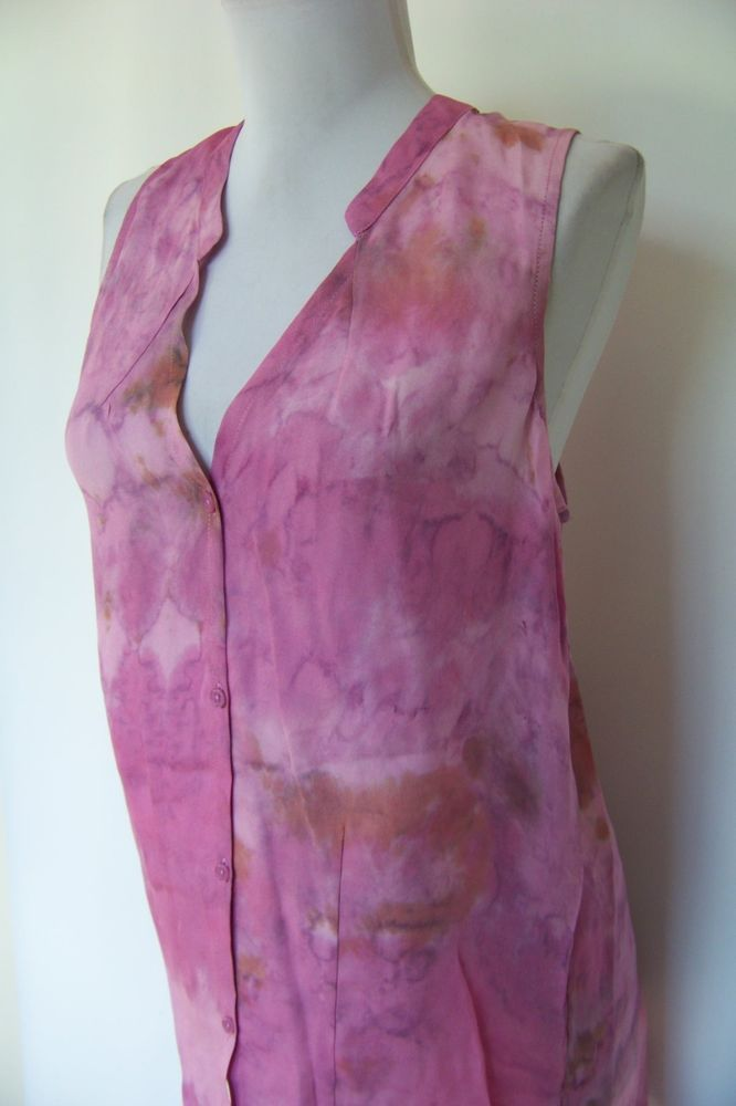 c1a1eac410d09 5263 NWT ACROBAT PINK TIE-DYE 100% SILK HI-LOW TOP BLOUSE S  fashion   clothing  shoes  accessories  womensclothing  tops (ebay link)