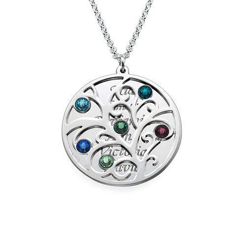 Filigree Family Tree Birthstone Necklace | MyNameNecklace