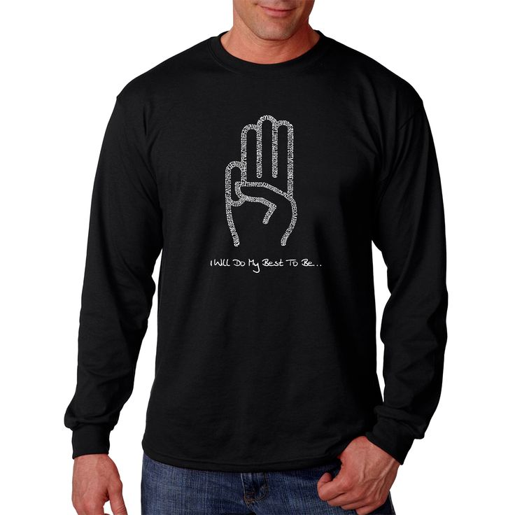 Honor your favorite Girl Scout when you wear this Los Angeles Pop Art long-sleeved T-shirt. The white design on black incorporates both the three fingered salute and the Girl Scout law text for a shar
