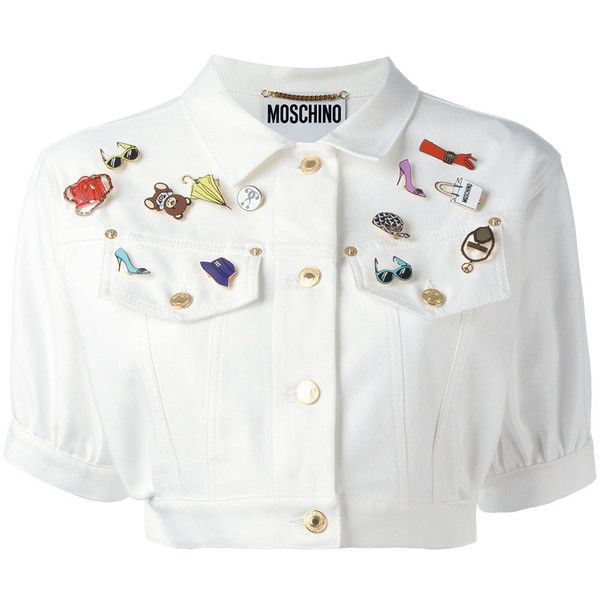 Moschino cropped denim jacket ($1,195) ❤ liked on Polyvore featuring outerwear, jackets, white, embellished jean jacket, short sleeve crop jacket, short-sleeve jackets, collar jacket and short sleeve jean jacket