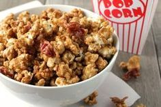 Bacon Bourbon Caramel Popcorn:  5 quarts plain popped corn (freshly air-popped recommended.) 1/2-1 lb thick cut bacon, chopped, fried to just about crispy and well drained 1 cup butter 2 cups brown sugar 1/2 cup light corn syrup or 1/2 cup maple syrup 1 teaspoon sea salt 1/2 teaspoon baking soda 3 ounces Bourbon (cheap is good) See recipe
