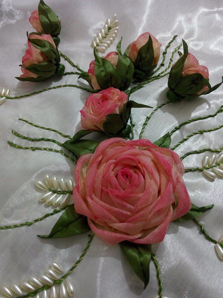 .ribbon embroidery with pearl leaves