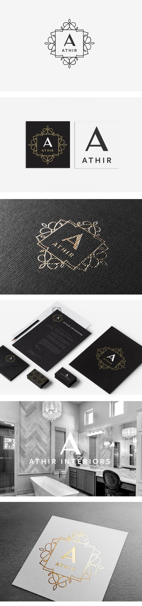 Clean logo design, monogram, gold, logo, design, a, elegant, clean, professional, branding, black, white, ornate, frame, interior, design