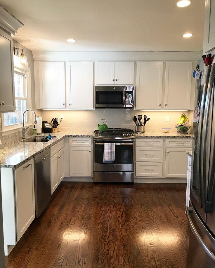 Kitchen remodel: Light grey tile backsplash, white ...