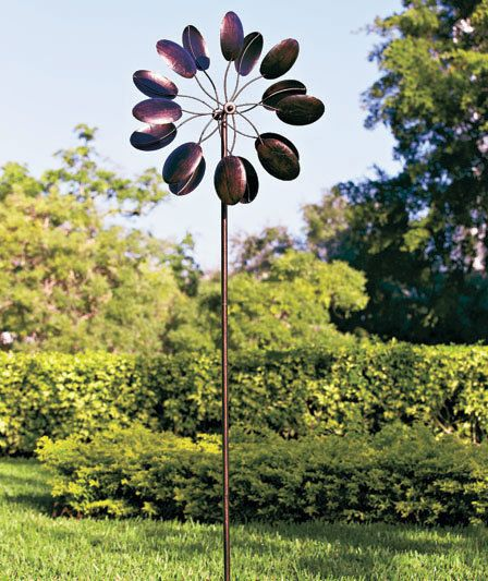 7u0027 Metal Triple Action Petal Windmill Stake Copper Finish Wind Spinner Yard