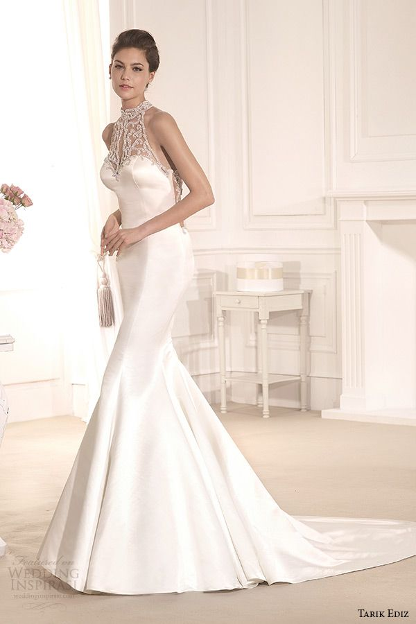 tarik ediz 2014 bridal collection high neck sleeveless mermaid wedding dress zambak