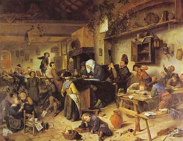 """The village school"" 1670. Jan Steen (1626-1679). Dutch genre painter. National Gallery of Scotland. #aula"
