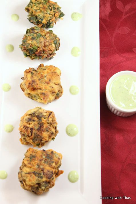 Spinach Mushroom Pakoras with Spicy Yogurt Sauce | Cooking with Thas