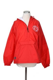 Monogram It! | Bluetique Cheap Chic #monogram #rain #jacket #pullover #hoodie #halfzip #sorority #greeklife #royal #red #orange #babyblue #black #navy #college #bright #colorful #comfy #sweatshirt
