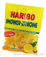 Haribo Ingwer-Zitrone Gummis  The package says that they're erfrischend scharf (refreshingly sharp) which would probably be because it's made with real ginger and lemon.