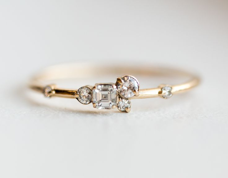 Pinch of sugar mini cluster ring in solid 14k yellow gold by Melanie Casey