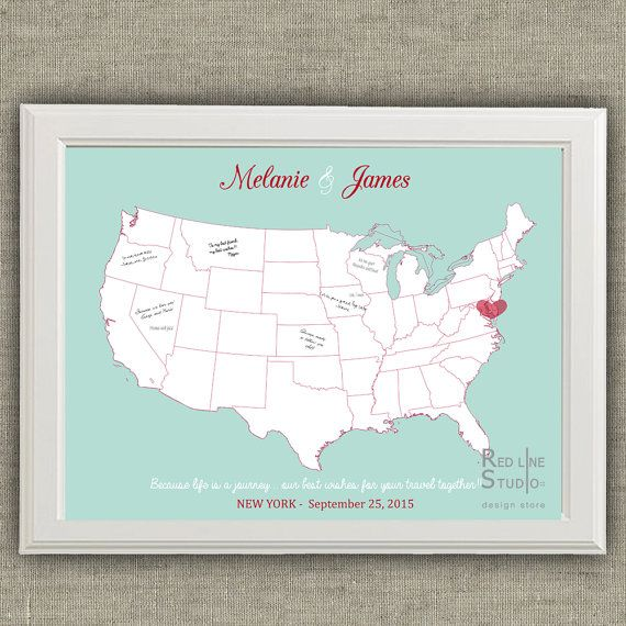 Usa Map Wedding Guest Book   Printable file by redlinecs on Etsy